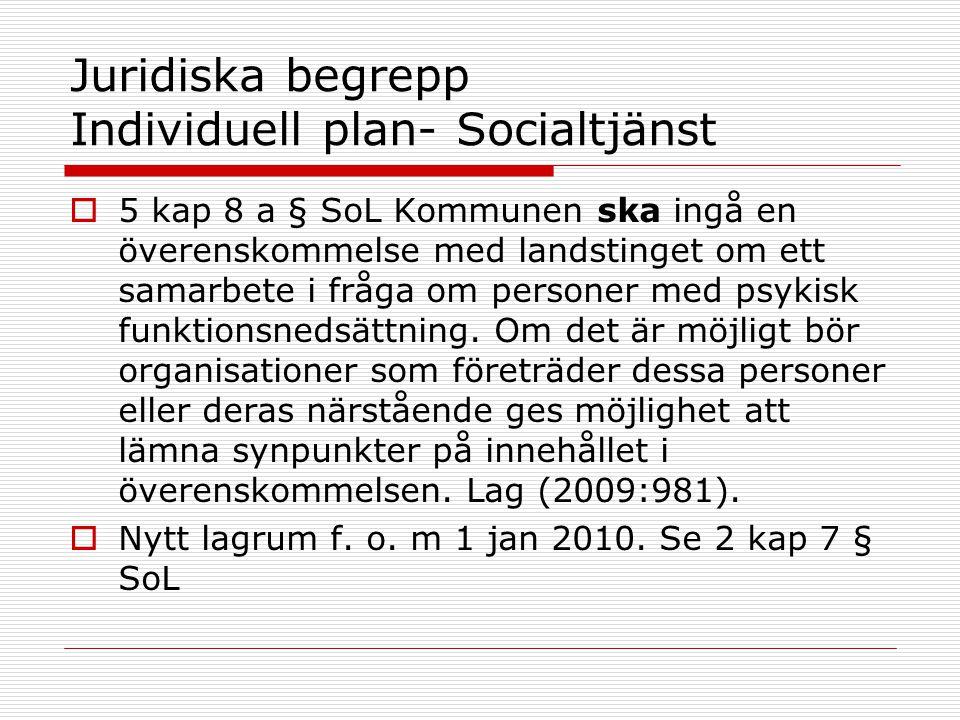Juridiska begrepp Individuell plan- Socialtjänst  5 kap 8 a § SoL Kommunen ska ingå en överenskommelse med landstinget om ett samarbete i fråga om pe