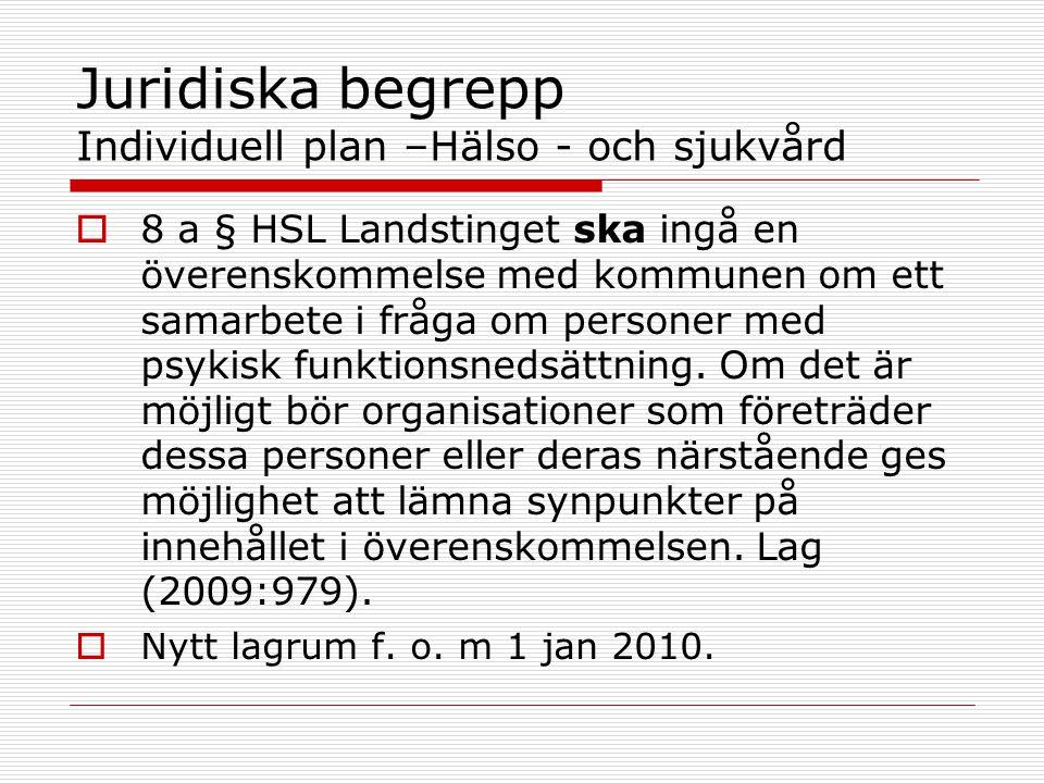 Juridiska begrepp Individuell plan –Hälso - och sjukvård  8 a § HSL Landstinget ska ingå en överenskommelse med kommunen om ett samarbete i fråga om