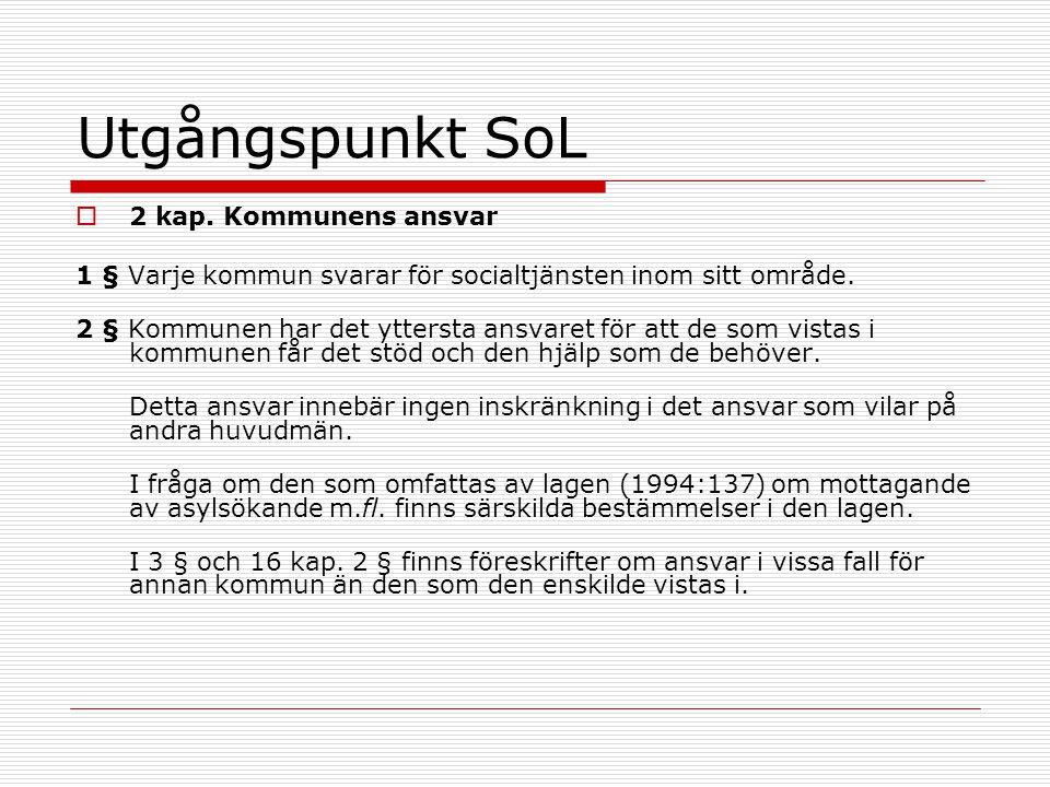 Utgångspunkt SoL  2 kap. Kommunens ansvar 1 § Varje kommun svarar för socialtjänsten inom sitt område. 2 § Kommunen har det yttersta ansvaret för att