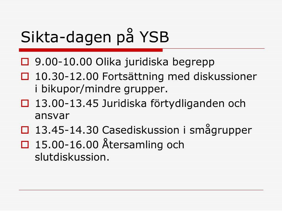 Sikta-dagen på YSB  9.00-10.00 Olika juridiska begrepp  10.30-12.00 Fortsättning med diskussioner i bikupor/mindre grupper.  13.00-13.45 Juridiska
