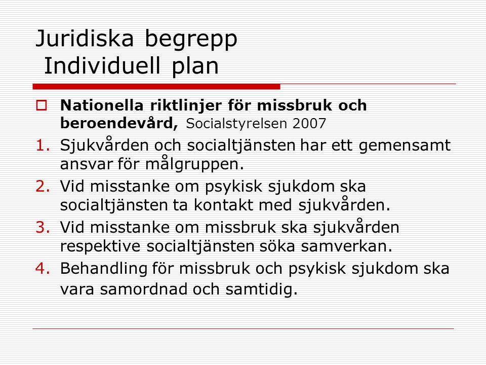 Juridiska begrepp Individuell plan  Nationella riktlinjer för missbruk och beroendevård, Socialstyrelsen 2007 1.Sjukvården och socialtjänsten har ett