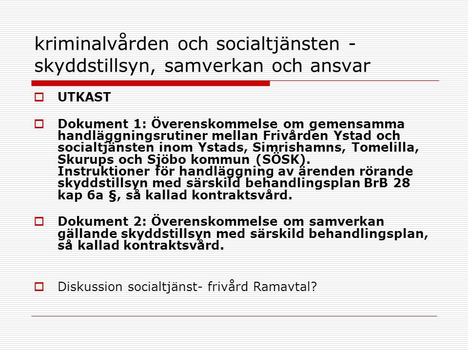kriminalvården och socialtjänsten - skyddstillsyn, samverkan och ansvar  UTKAST  Dokument 1: Överenskommelse om gemensamma handläggningsrutiner mell