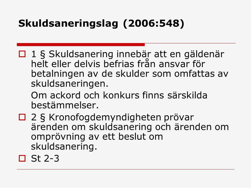 Skuldsaneringslag (2006:548)  1 § Skuldsanering innebär att en gäldenär helt eller delvis befrias från ansvar för betalningen av de skulder som omfat