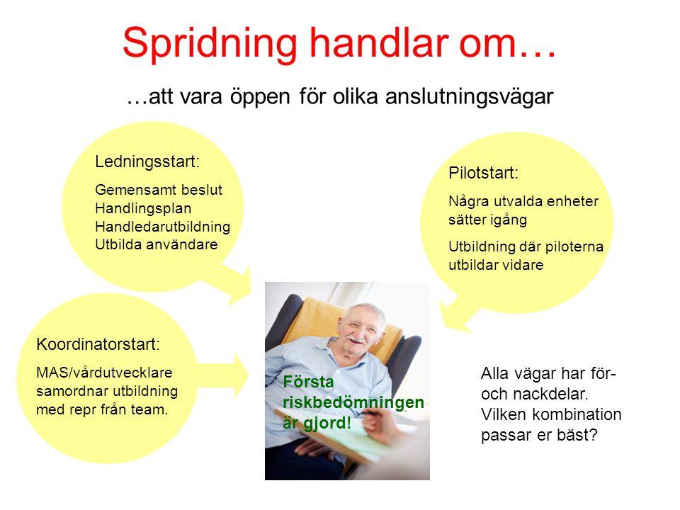 Spridning handlar om… …att vara öppen för olika anslutningsvägar Koordinatorstart: MAS/vårdutvecklare samordnar utbildning med repr från team. Ledning