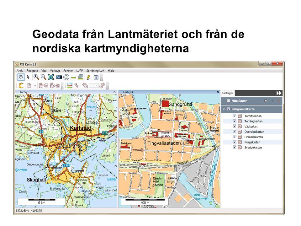 Geodata från Lantmäteriet och från de nordiska kartmyndigheterna