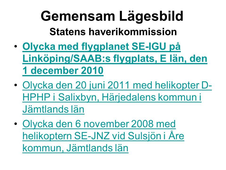 Gemensam Lägesbild Statens haverikommission •Olycka med flygplanet SE-IGU på Linköping/SAAB:s flygplats, E län, den 1 december 2010Olycka med flygplanet SE-IGU på Linköping/SAAB:s flygplats, E län, den 1 december 2010 •Olycka den 20 juni 2011 med helikopter D- HPHP i Salixbyn, Härjedalens kommun i Jämtlands länOlycka den 20 juni 2011 med helikopter D- HPHP i Salixbyn, Härjedalens kommun i Jämtlands län •Olycka den 6 november 2008 med helikoptern SE-JNZ vid Sulsjön i Åre kommun, Jämtlands länOlycka den 6 november 2008 med helikoptern SE-JNZ vid Sulsjön i Åre kommun, Jämtlands län