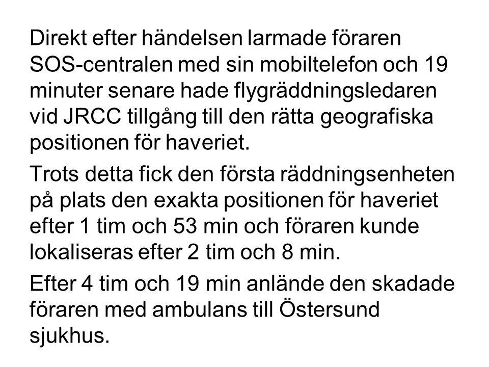 Direkt efter händelsen larmade föraren SOS-centralen med sin mobiltelefon och 19 minuter senare hade flygräddningsledaren vid JRCC tillgång till den rätta geografiska positionen för haveriet.