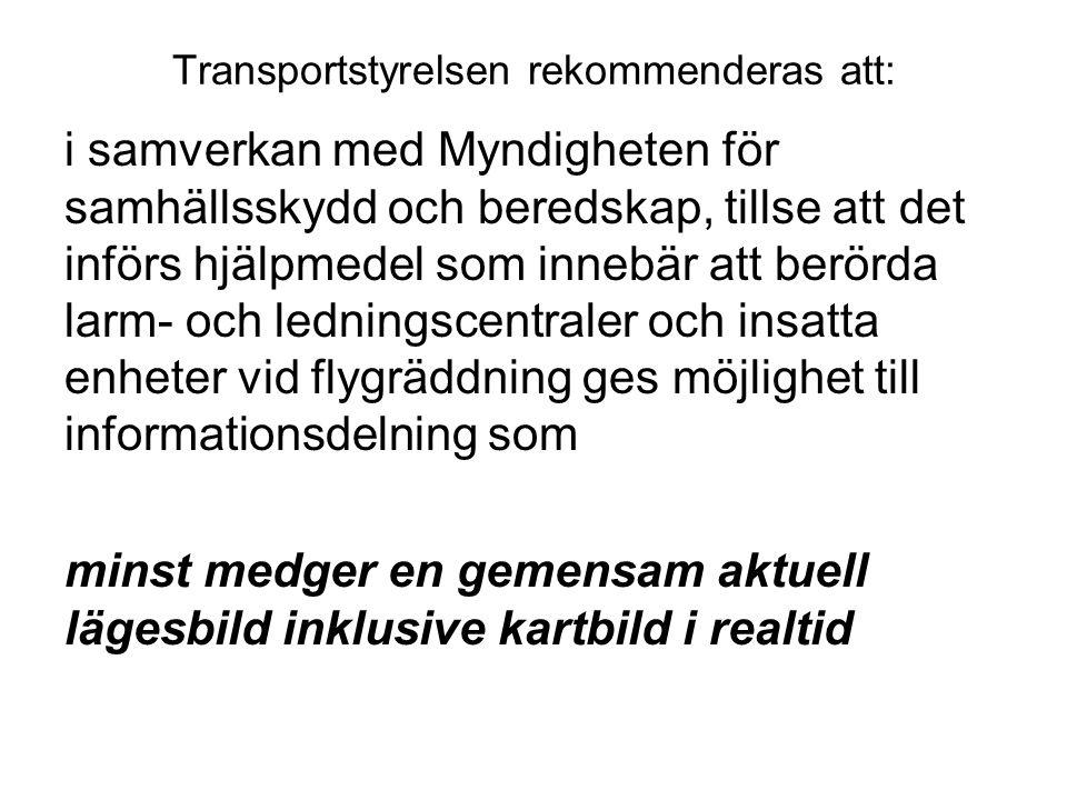Transportstyrelsen rekommenderas att: i samverkan med Myndigheten för samhällsskydd och beredskap, tillse att det införs hjälpmedel som innebär att be