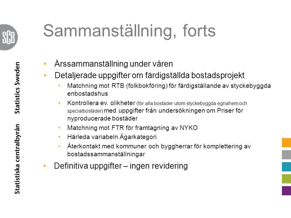 Sammanställning, forts •Årssammanställning under våren •Detaljerade uppgifter om färdigställda bostadsprojekt •Matchning mot RTB (folkbokföring) för färdigställande av styckebyggda enbostadshus •Kontrollera ev.