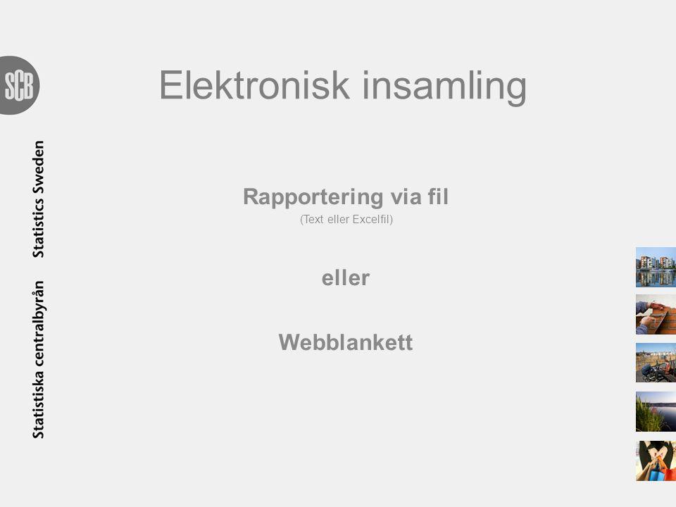 Elektronisk insamling Rapportering via fil (Text eller Excelfil) eller Webblankett