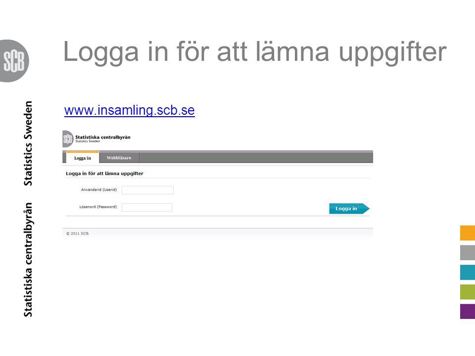 Logga in för att lämna uppgifter www.insamling.scb.se