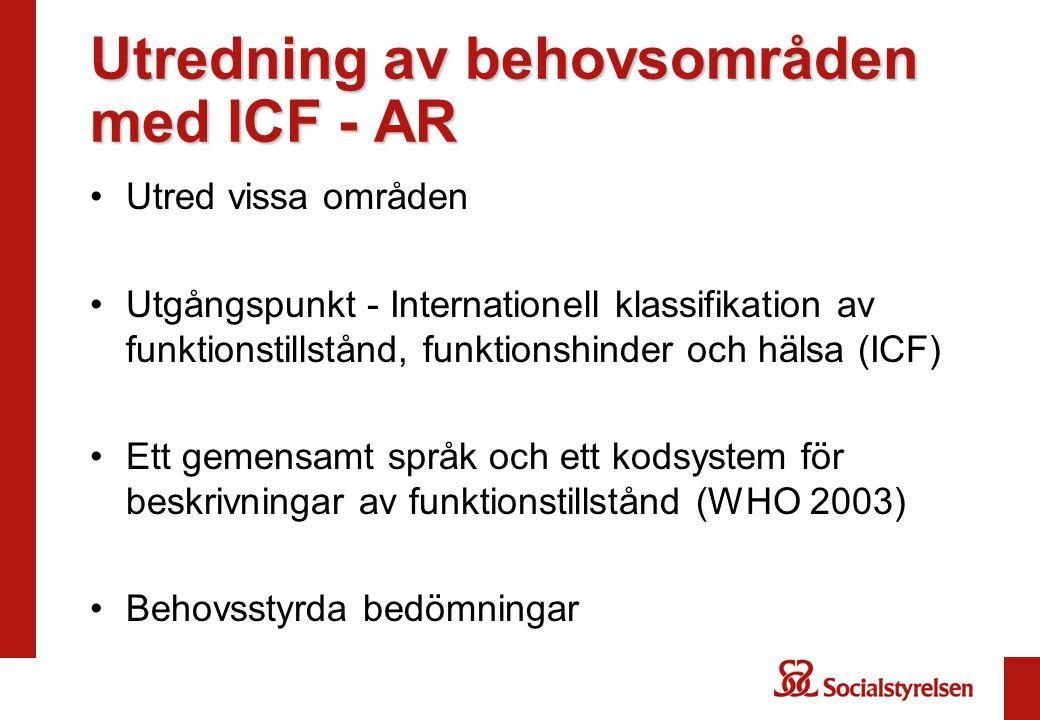 Utredning av behovsområden med ICF - AR •Utred vissa områden •Utgångspunkt - Internationell klassifikation av funktionstillstånd, funktionshinder och