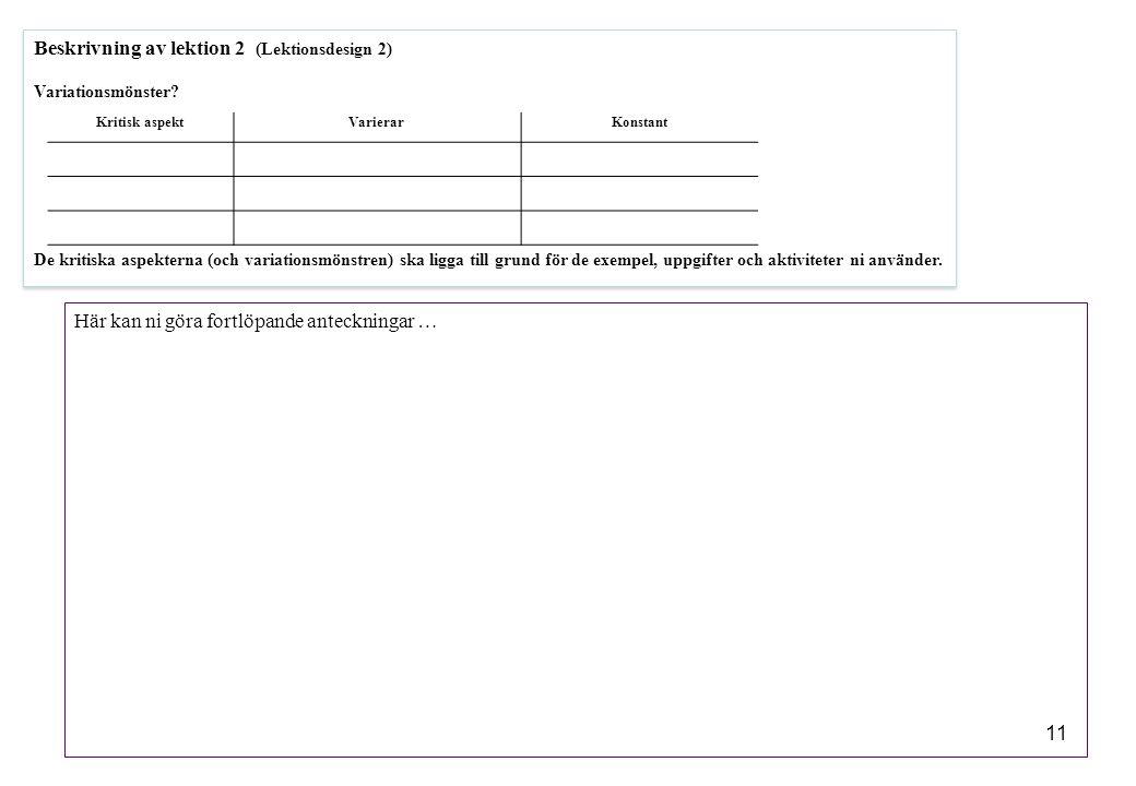11 Beskrivning av lektion 2 (Lektionsdesign 2) Variationsmönster? De kritiska aspekterna (och variationsmönstren) ska ligga till grund för de exempel,
