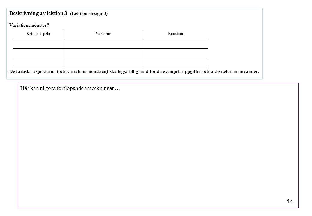 14 Beskrivning av lektion 3 (Lektionsdesign 3) Variationsmönster? De kritiska aspekterna (och variationsmönstren) ska ligga till grund för de exempel,