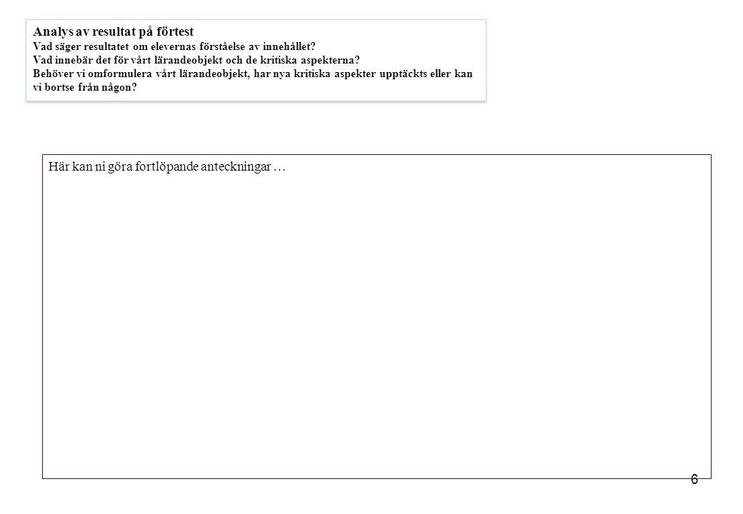 6 Analys av resultat på förtest Vad säger resultatet om elevernas förståelse av innehållet.