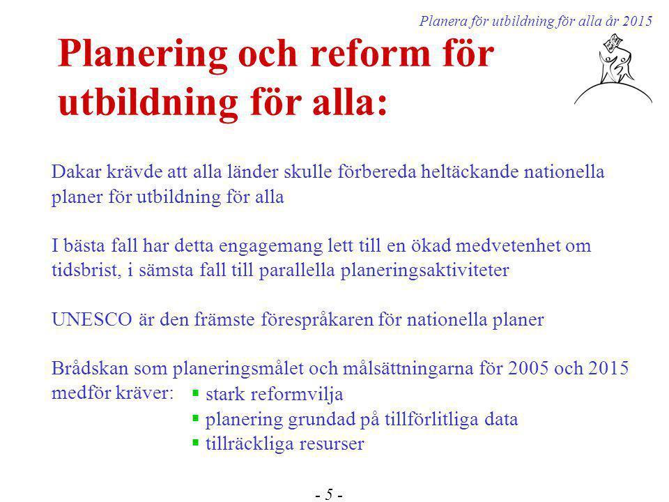 Planering och reform för utbildning för alla: - 5 - Planera för utbildning för alla år 2015 Dakar krävde att alla länder skulle förbereda heltäckande nationella planer för utbildning för alla I bästa fall har detta engagemang lett till en ökad medvetenhet om tidsbrist, i sämsta fall till parallella planeringsaktiviteter UNESCO är den främste förespråkaren för nationella planer Brådskan som planeringsmålet och målsättningarna för 2005 och 2015 medför kräver:  stark reformvilja  planering grundad på tillförlitliga data  tillräckliga resurser