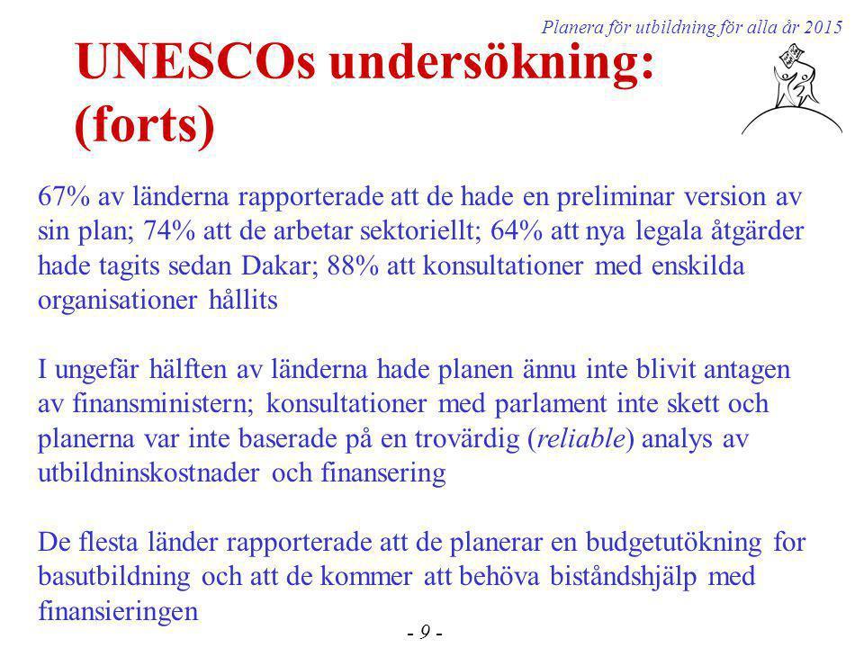 UNESCOs undersökning: (forts) - 9 - Planera för utbildning för alla år 2015 67% av länderna rapporterade att de hade en preliminar version av sin plan; 74% att de arbetar sektoriellt; 64% att nya legala åtgärder hade tagits sedan Dakar; 88% att konsultationer med enskilda organisationer hållits I ungefär hälften av länderna hade planen ännu inte blivit antagen av finansministern; konsultationer med parlament inte skett och planerna var inte baserade på en trovärdig (reliable) analys av utbildninskostnader och finansering De flesta länder rapporterade att de planerar en budgetutökning for basutbildning och att de kommer att behöva biståndshjälp med finansieringen
