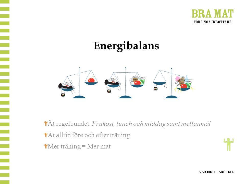 Energibalans Ät regelbundet. Frukost, lunch och middag samt mellanmål Ät alltid före och efter träning Mer träning = Mer mat