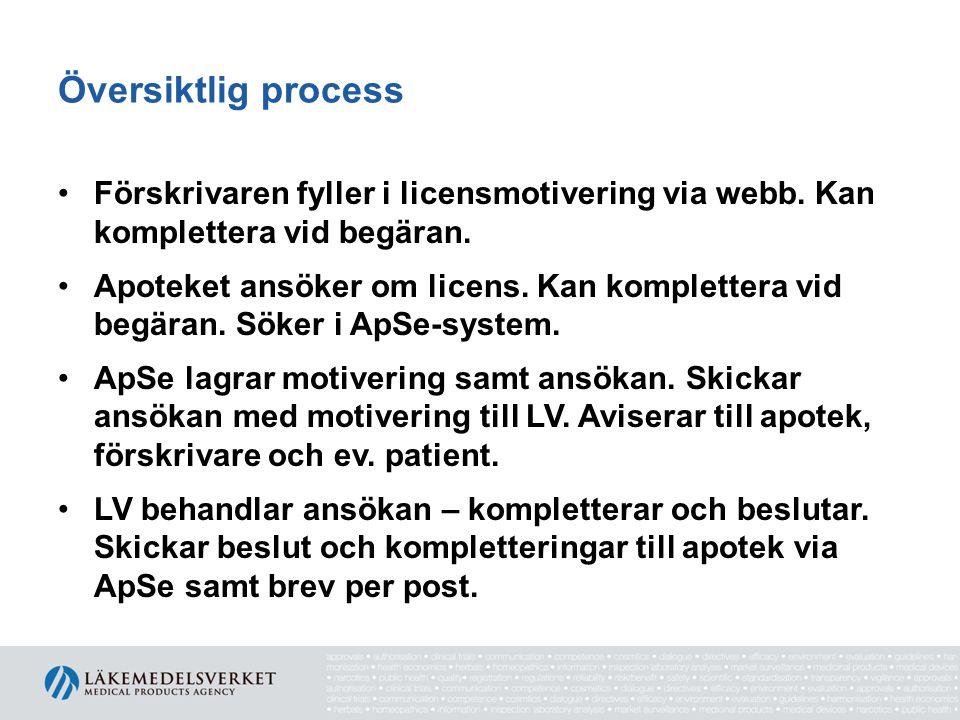 Översiktlig process •Förskrivaren fyller i licensmotivering via webb.