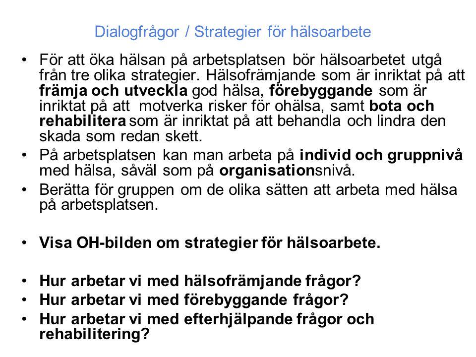 •För att öka hälsan på arbetsplatsen bör hälsoarbetet utgå från tre olika strategier. Hälsofrämjande som är inriktat på att främja och utveckla god hä