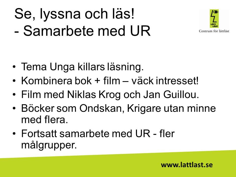 www.lattlast.se Se, lyssna och läs! - Samarbete med UR •Tema Unga killars läsning. •Kombinera bok + film – väck intresset! •Film med Niklas Krog och J