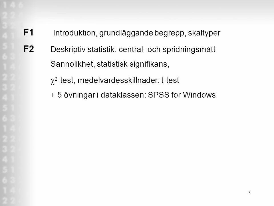 5 F1 Introduktion, grundläggande begrepp, skaltyper F2 Deskriptiv statistik: central- och spridningsmått Sannolikhet, statistisk signifikans,  2 -test, medelvärdesskillnader: t-test + 5 övningar i dataklassen: SPSS for Windows