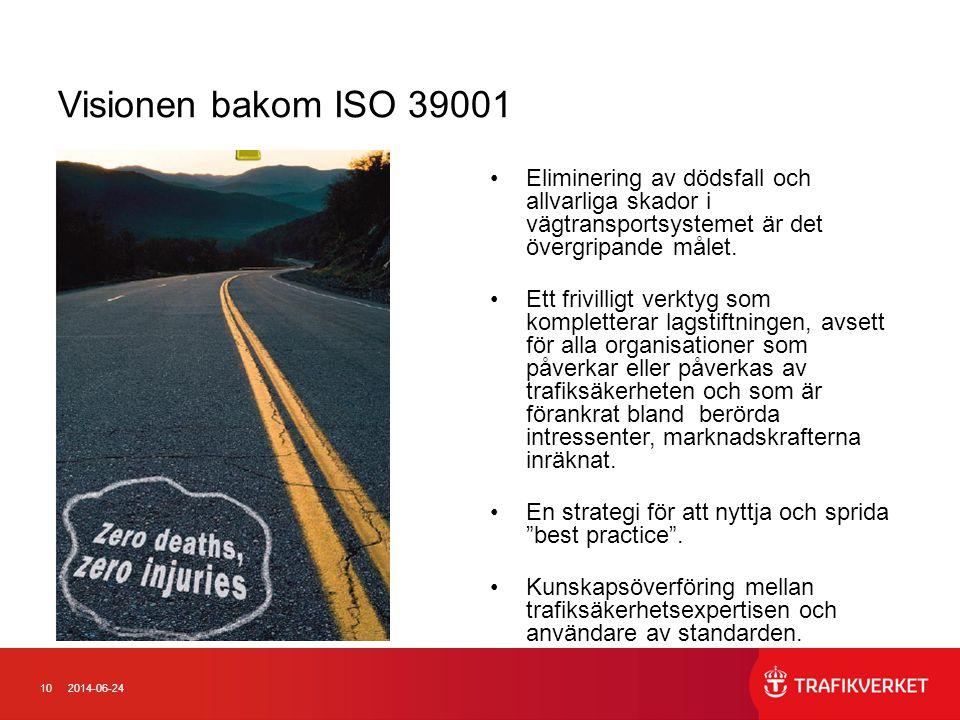102014-06-24 Visionen bakom ISO 39001 •Eliminering av dödsfall och allvarliga skador i vägtransportsystemet är det övergripande målet. •Ett frivilligt