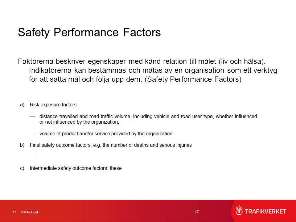 172014-06-24 17 Safety Performance Factors Faktorerna beskriver egenskaper med känd relation till målet (liv och hälsa). Indikatorerna kan bestämmas o