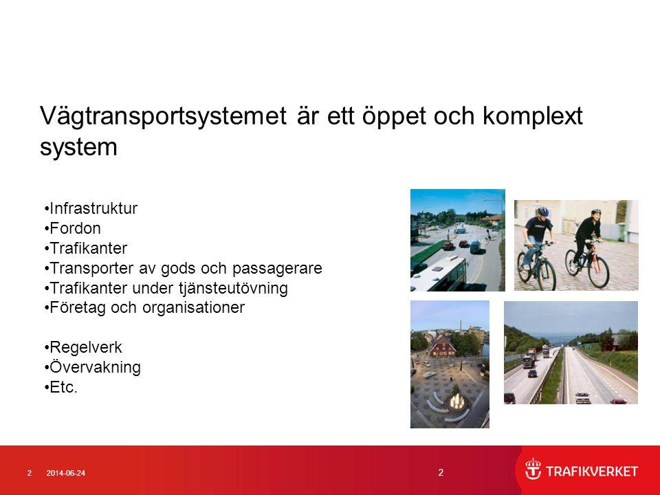 22014-06-24 2 Vägtransportsystemet är ett öppet och komplext system •Infrastruktur •Fordon •Trafikanter •Transporter av gods och passagerare •Trafikanter under tjänsteutövning •Företag och organisationer •Regelverk •Övervakning •Etc.