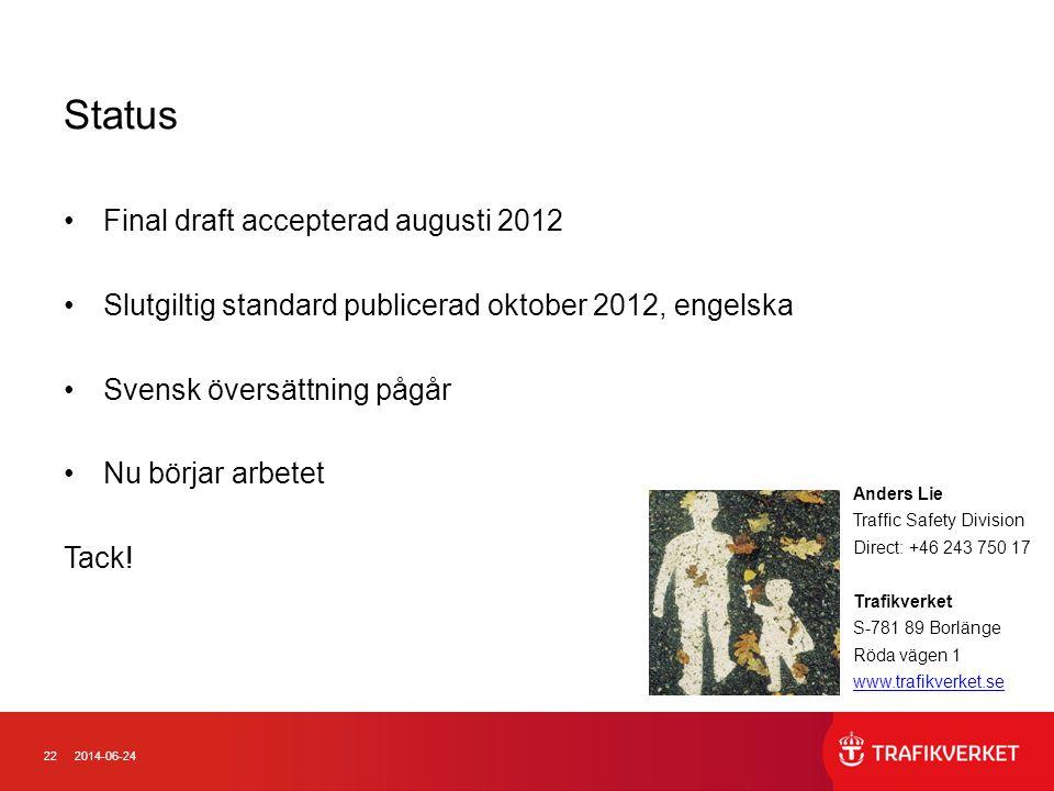 222014-06-24 Status •Final draft accepterad augusti 2012 •Slutgiltig standard publicerad oktober 2012, engelska •Svensk översättning pågår •Nu börjar arbetet Tack.