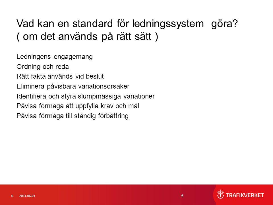 62014-06-24 6 Vad kan en standard för ledningssystem göra? ( om det används på rätt sätt ) Ledningens engagemang Ordning och reda Rätt fakta används v