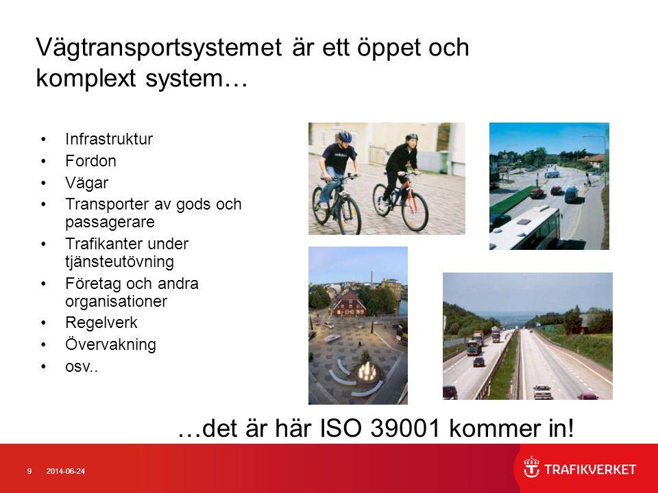 9 Vägtransportsystemet är ett öppet och komplext system… •Infrastruktur •Fordon •Vägar •Transporter av gods och passagerare •Trafikanter under tjänsteutövning •Företag och andra organisationer •Regelverk •Övervakning •osv..