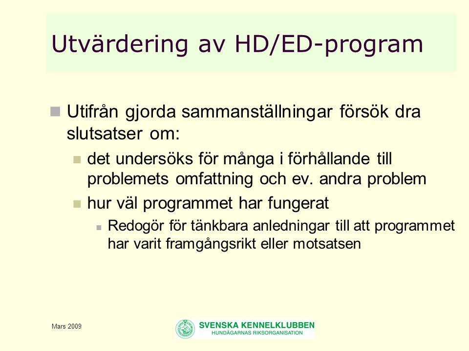 Mars 2009 Utvärdering av HD/ED-program  Utifrån gjorda sammanställningar försök dra slutsatser om:  det undersöks för många i förhållande till problemets omfattning och ev.