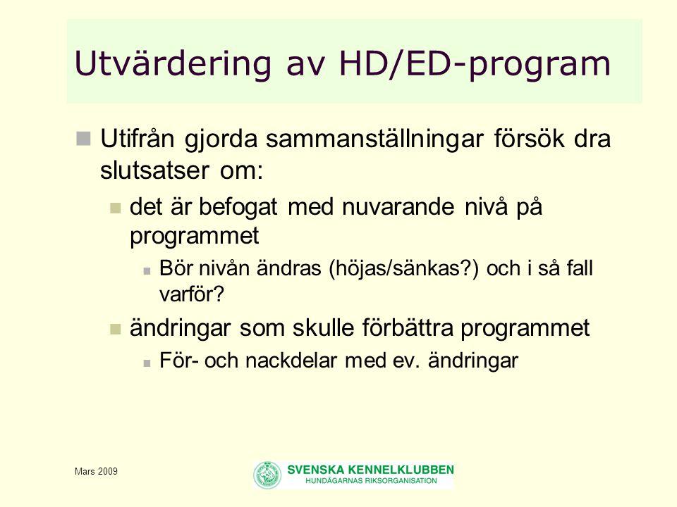Mars 2009 Utvärdering av HD/ED-program  Utifrån gjorda sammanställningar försök dra slutsatser om:  det är befogat med nuvarande nivå på programmet  Bör nivån ändras (höjas/sänkas ) och i så fall varför.