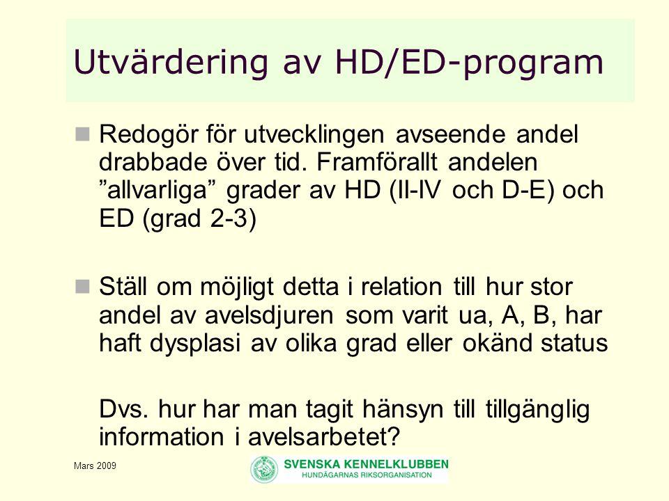 Mars 2009 Utvärdering av HD/ED-program  Redogör för utvecklingen avseende andel drabbade över tid.