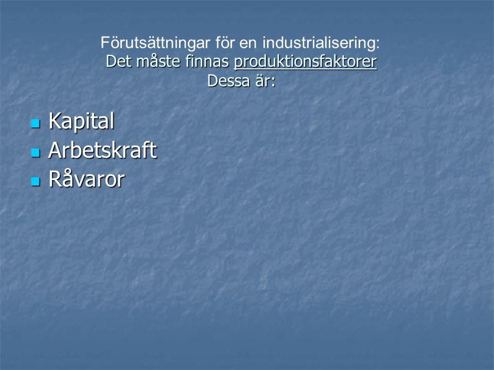  Produktionsfaktorerna är: Arbetskraft Råvaror Kapital Arbetskraft behövs i produktionen Råvaror förädlas till en färdig produkt.