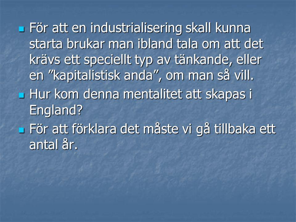 """ För att en industrialisering skall kunna starta brukar man ibland tala om att det krävs ett speciellt typ av tänkande, eller en """"kapitalistisk anda"""""""