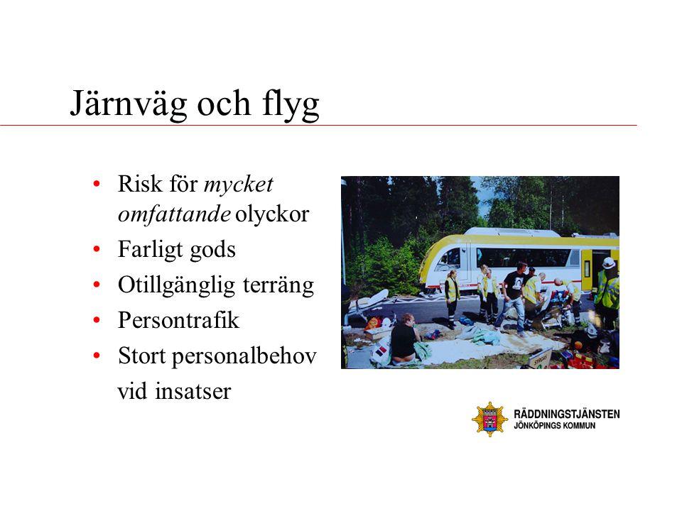 Järnväg och flyg •Risk för mycket omfattande olyckor •Farligt gods •Otillgänglig terräng •Persontrafik •Stort personalbehov vid insatser