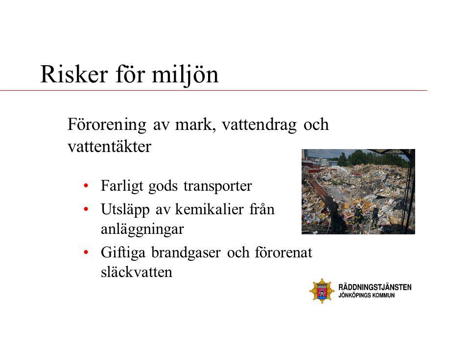 Risker för miljön •Farligt gods transporter •Utsläpp av kemikalier från anläggningar •Giftiga brandgaser och förorenat släckvatten Förorening av mark,