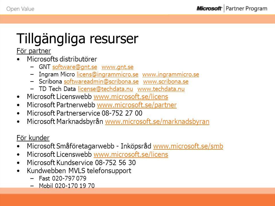 Tillgängliga resurser För partner •Microsofts distributörer –GNT software@gnt.se www.gnt.sesoftware@gnt.sewww.gnt.se –Ingram Micro licens@ingrammicro.se www.ingrammicro.selicens@ingrammicro.sewww.ingrammicro.se –Scribona softwareadmin@scribona.se www.scribona.sesoftwareadmin@scribona.sewww.scribona.se –TD Tech Data license@techdata.nu www.techdata.nulicense@techdata.nuwww.techdata.nu •Microsoft Licenswebb www.microsoft.se/licenswww.microsoft.se/licens •Microsoft Partnerwebb www.microsoft.se/partnerwww.microsoft.se/partner •Microsoft Partnerservice 08-752 27 00 •Microsoft Marknadsbyrån www.microsoft.se/marknadsbyranwww.microsoft.se/marknadsbyran För kunder •Microsoft Småföretagarwebb - Inköpsråd www.microsoft.se/smbwww.microsoft.se/smb •Microsoft Licenswebb www.microsoft.se/licenswww.microsoft.se/licens •Microsoft Kundservice 08-752 56 30 •Kundwebben MVLS telefonsupport –Fast 020-797 079 –Mobil 020-170 19 70