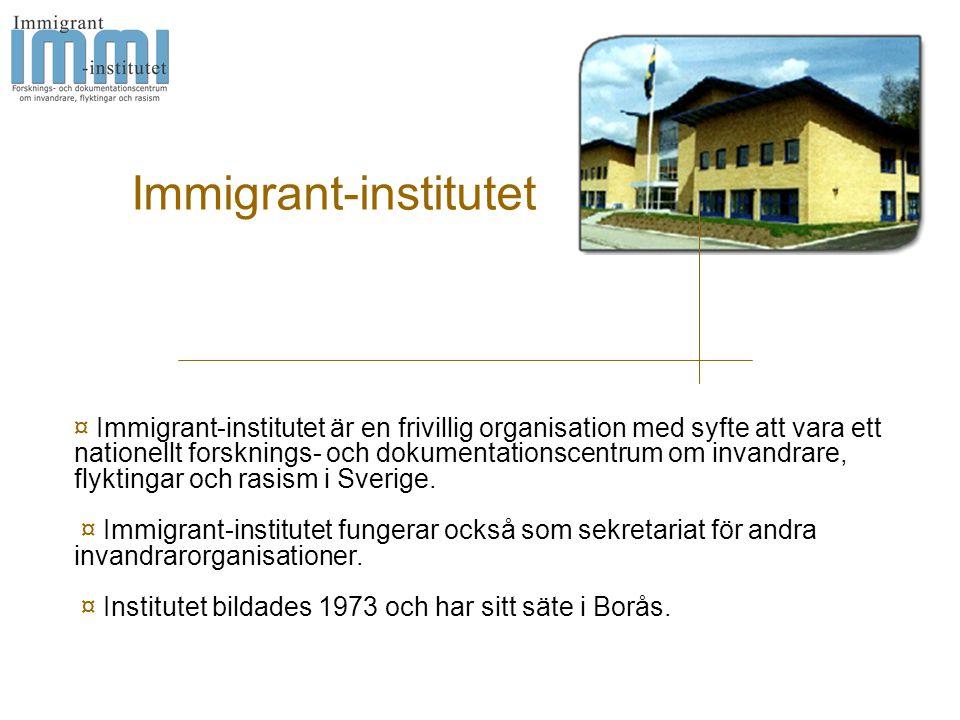 Immigrant-institutet ¤ Immigrant-institutet är en frivillig organisation med syfte att vara ett nationellt forsknings- och dokumentationscentrum om invandrare, flyktingar och rasism i Sverige.