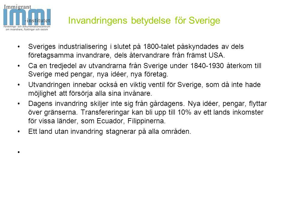 Invandringens betydelse för Sverige •Sveriges industrialisering i slutet på 1800-talet påskyndades av dels företagsamma invandrare, dels återvandrare från främst USA.