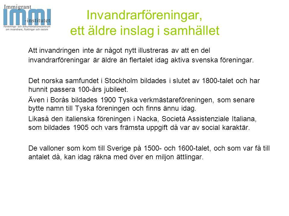 Invandrarföreningar, ett äldre inslag i samhället Att invandringen inte är något nytt illustreras av att en del invandrarföreningar är äldre än flertalet idag aktiva svenska föreningar.