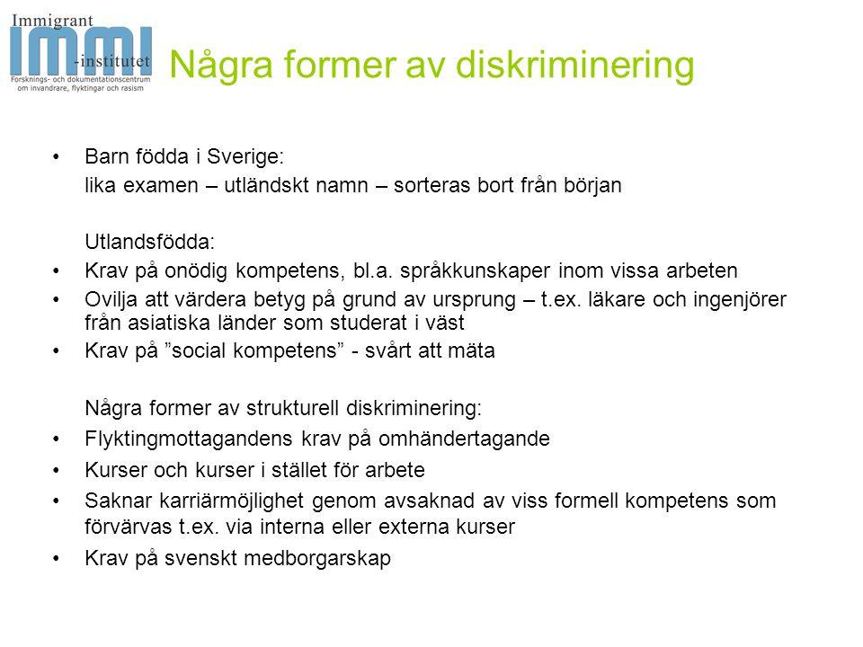 Några former av diskriminering •Barn födda i Sverige: lika examen – utländskt namn – sorteras bort från början Utlandsfödda: •Krav på onödig kompetens, bl.a.