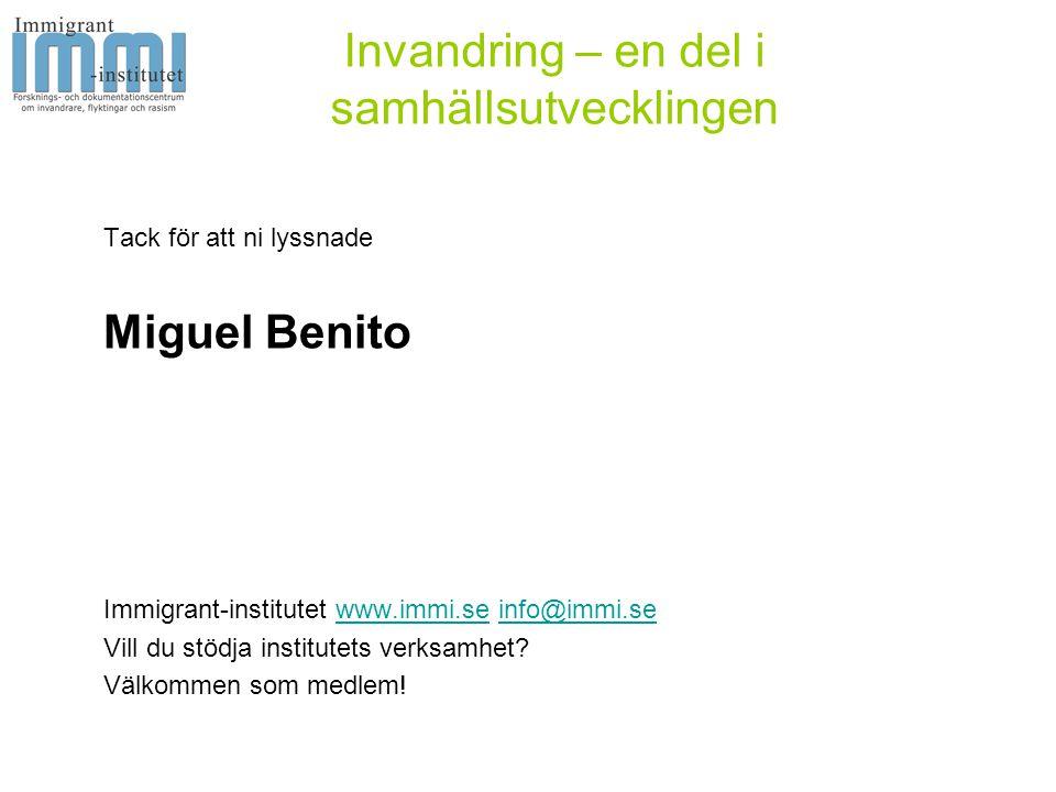 Invandring – en del i samhällsutvecklingen Tack för att ni lyssnade Miguel Benito Immigrant-institutet www.immi.se info@immi.sewww.immi.seinfo@immi.se Vill du stödja institutets verksamhet.