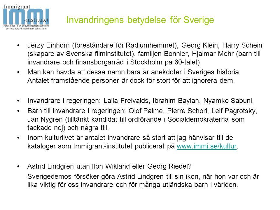Invandringens betydelse för Sverige •Vad säger statistiken.