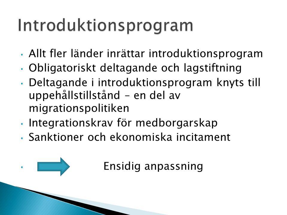 • Allt fler länder inrättar introduktionsprogram • Obligatoriskt deltagande och lagstiftning • Deltagande i introduktionsprogram knyts till uppehållst