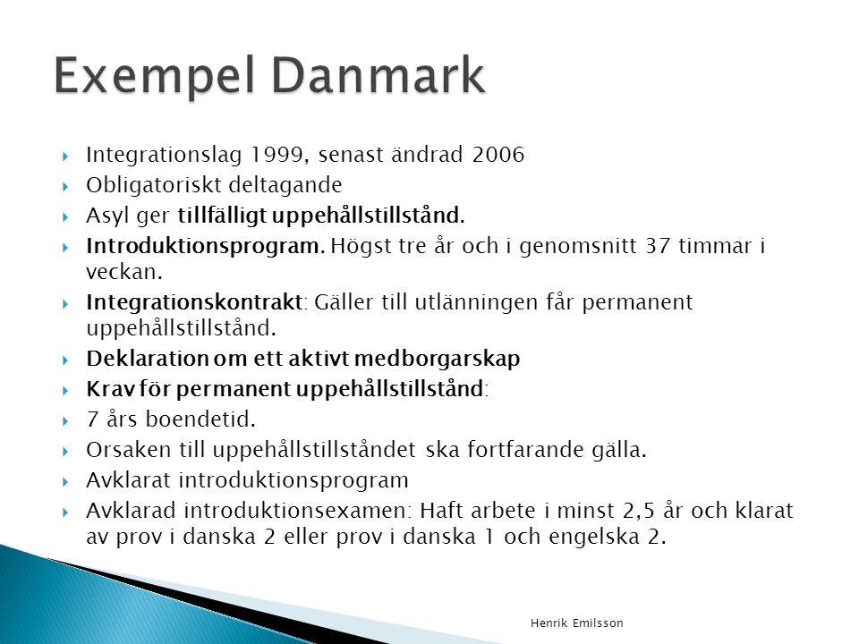  Integrationslag 1999, senast ändrad 2006  Obligatoriskt deltagande  Asyl ger tillfälligt uppehållstillstånd.  Introduktionsprogram. Högst tre år