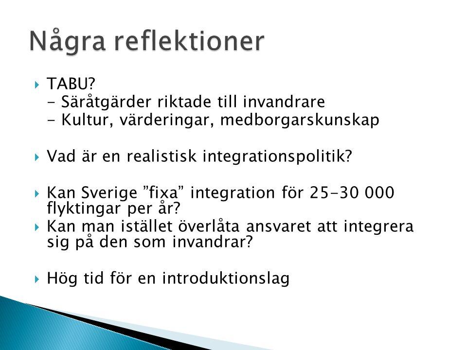 """ TABU? - Säråtgärder riktade till invandrare - Kultur, värderingar, medborgarskunskap  Vad är en realistisk integrationspolitik?  Kan Sverige """"fixa"""