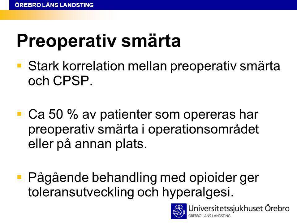 ÖREBRO LÄNS LANDSTING Preoperativ smärta  Stark korrelation mellan preoperativ smärta och CPSP.